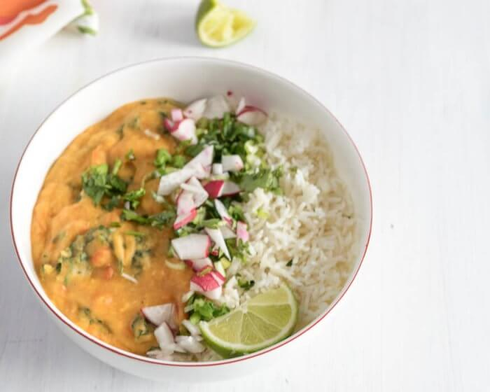 lentil and sweet potato curry on rice