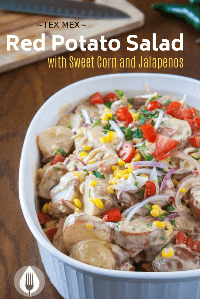 red vegan potato salad with sweet corn and jalapeno