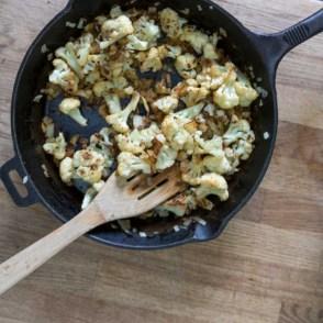 cauliflower frittata in process