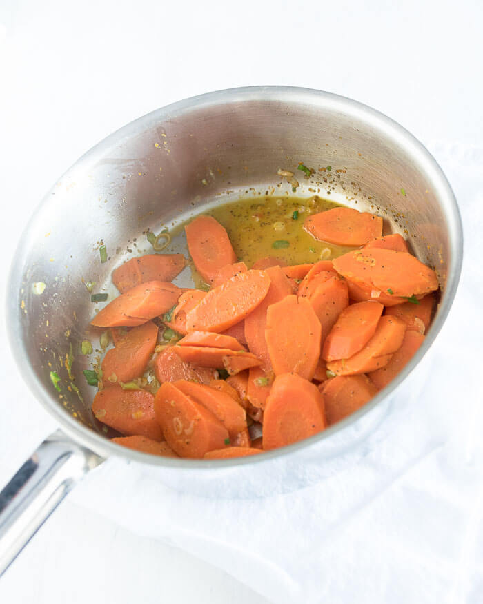 cooked carrots in a orange glaze