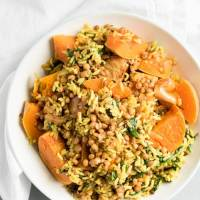Stuffed Butternut Squash with Rice and Lentils