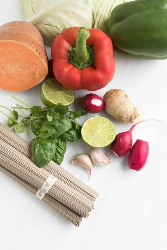 soba noodles and vegetables