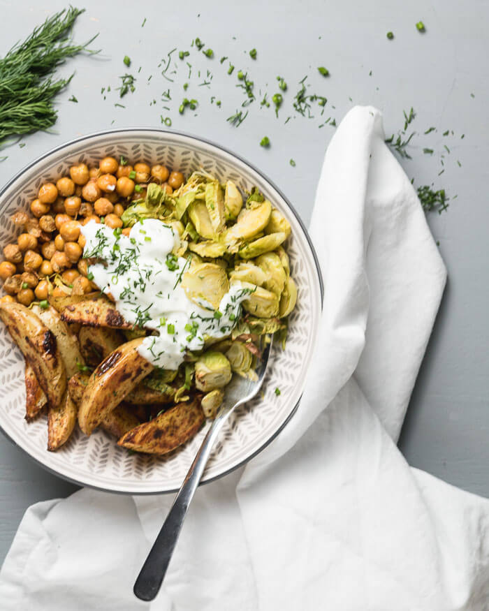 roastec chickpeas potato bowls with dill sauce with Brussel Sprouts