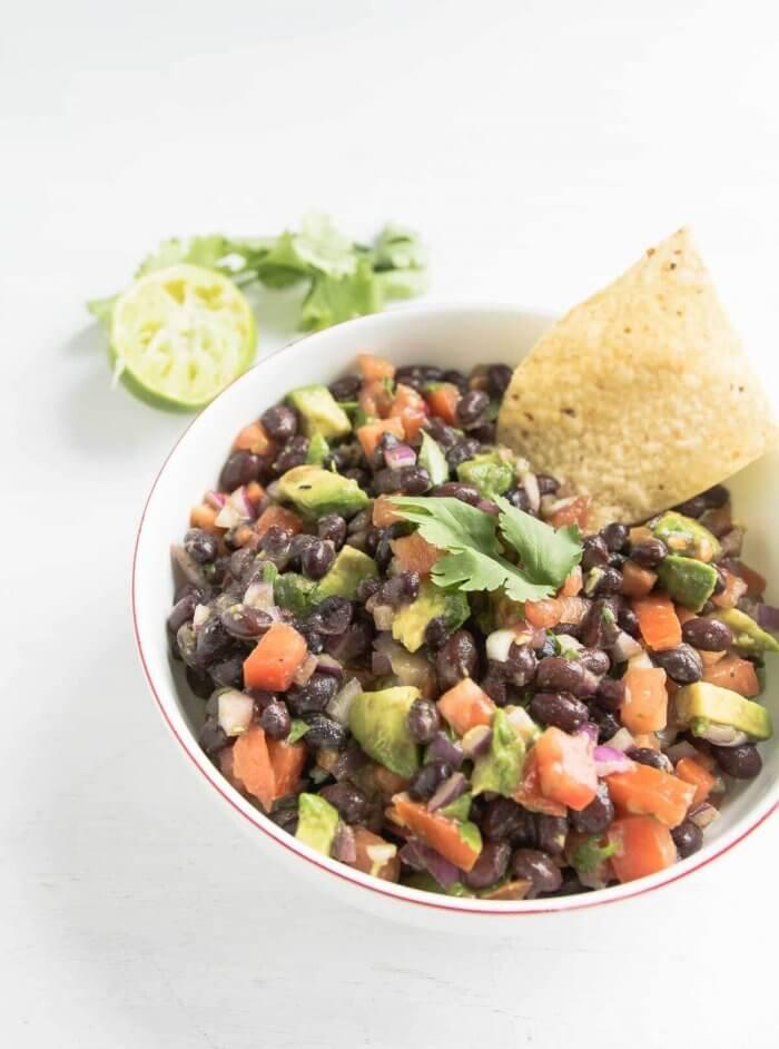 black bean salsa served with gluten-free corn chips