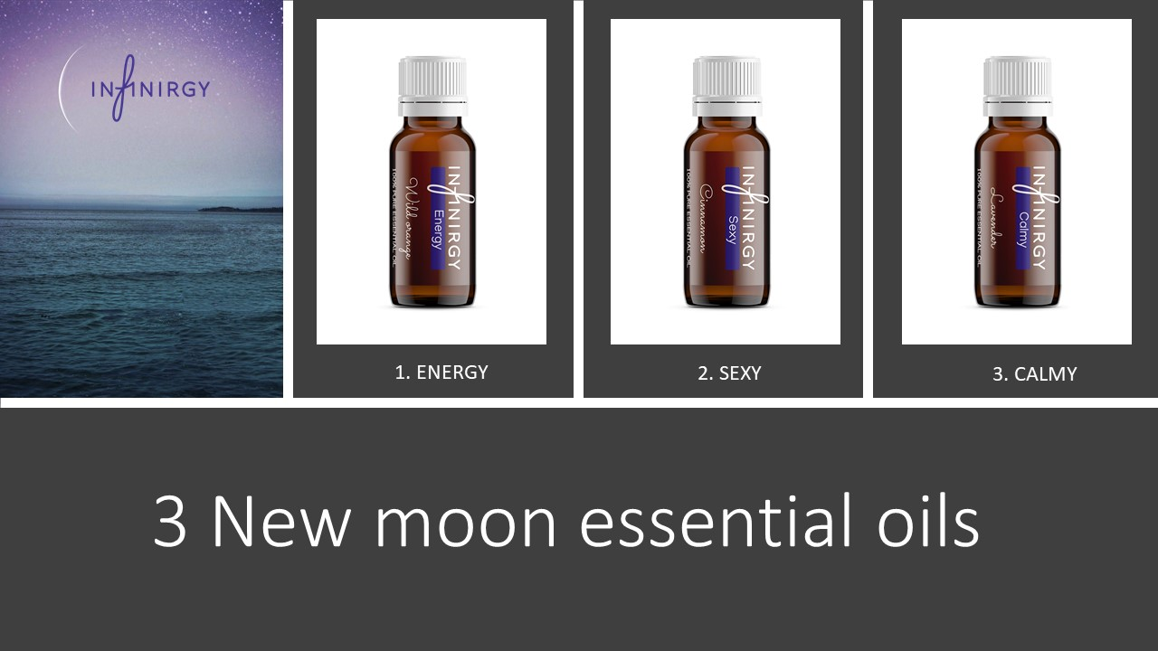 3 New moon essential oils, Energy, Sexy en Calmy