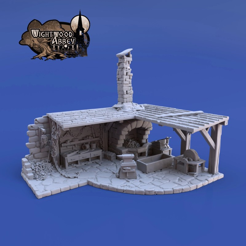 3D printable medieval smithy