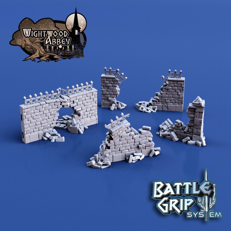 3D printable Ruined Medieval Walls