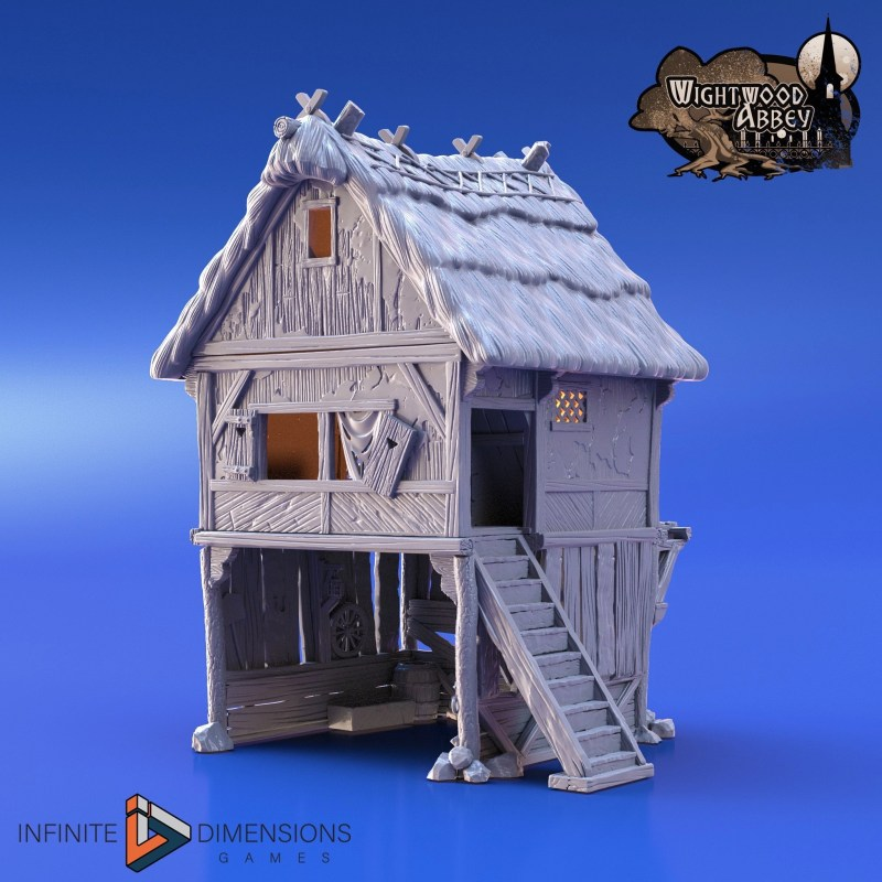3d printable thatched storehouse