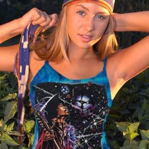 Big Wing Inspired by Jimi Hendrix Tank Top - Women's purple tie dye, 100% cotton sleeveless tank top.