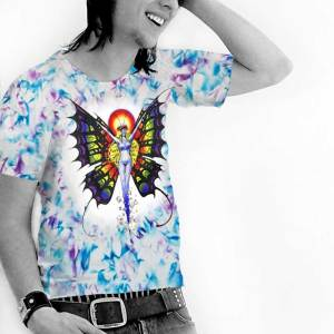 Butterfly Lady T-shirt - Men's blue and purple crystallized, 100% cotton crew neck cut, short sleeve tee.