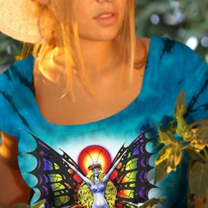 Butterfly Lady T-shirt - Women's blue tie dye, 100% cotton crew neck cut, short sleeve tee.