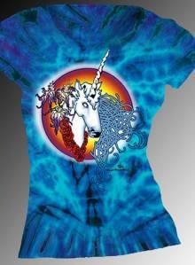 Female Unicorn T-shirt - Women's purple tie dye, 100% cotton crew neck cut, short sleeve tee.