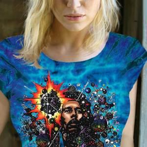 Rasta Mon Inspired by Bob Marley T-shirt - Women's purple tie dye, 100% cotton crew neck cut, short sleeve tee.