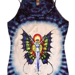 Butterfly Lady Fantasy Art Purple Tie Dye Women's Tank Top