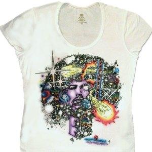 Clearance Sale on Haze Women's Jimi Hendrix T-shirt in White