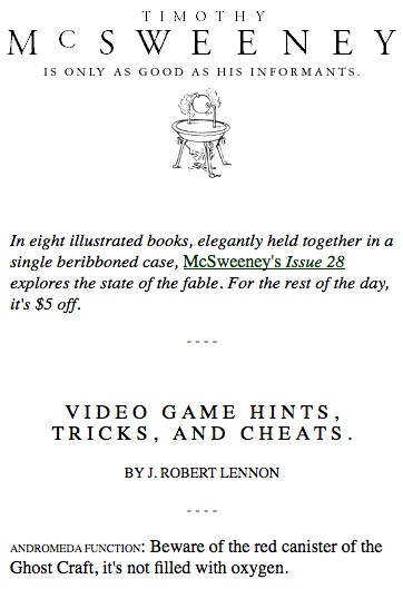 McSweeneys Video Game Hints, Tricks, and Cheats