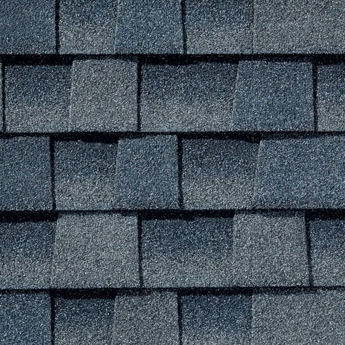 Picture of blue hued shingles, Biscayne Blue GAF Timberline