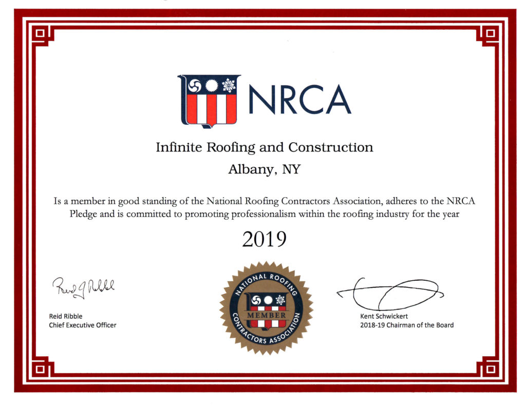 Infinite Roofing 2019 NRCA Certificate