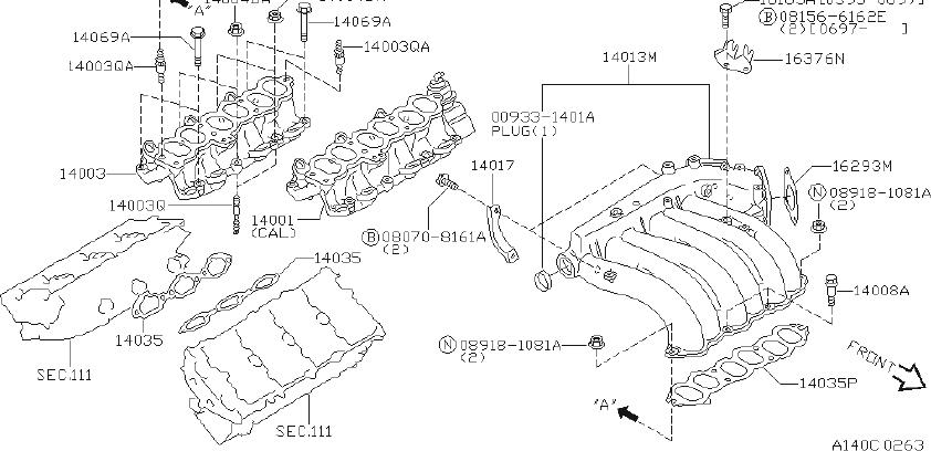 INFINITI I30 Air Crossover Gasket. Gasket Intake And