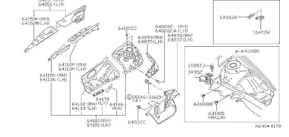INFINITI I30 Vapor Canister Bracket. CAL, FED, PIPING