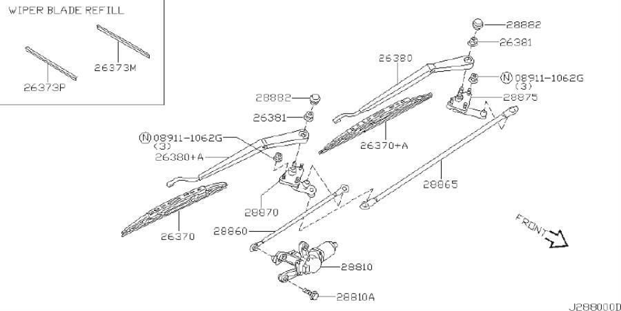 INFINITI I35 Windshield Wiper Arm. System, Electrical