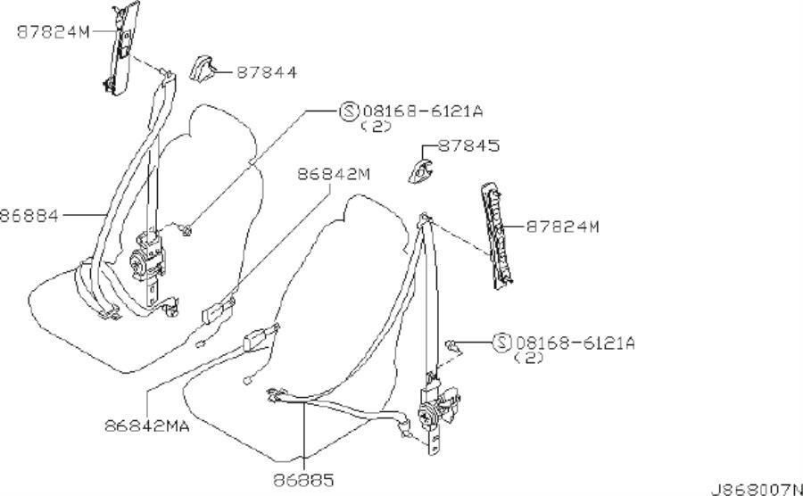 INFINITI I35 Seat Belt Lap And Shoulder Belt (Left, Front