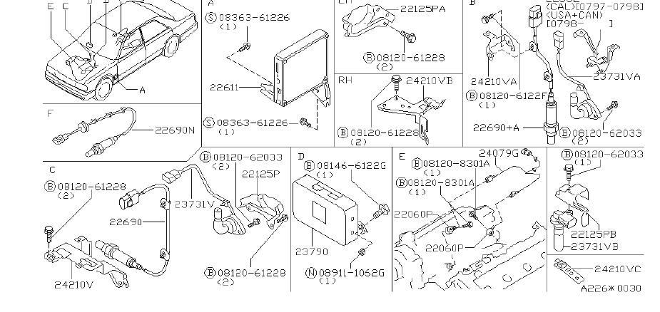 INFINITI Q45 Harness Engine SUB. Harness SUB, Knock Sensor