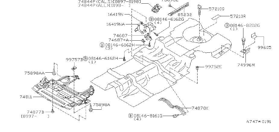 INFINITI Q45 Bumper Cover Grommet. FITTING, REAR, TRACK