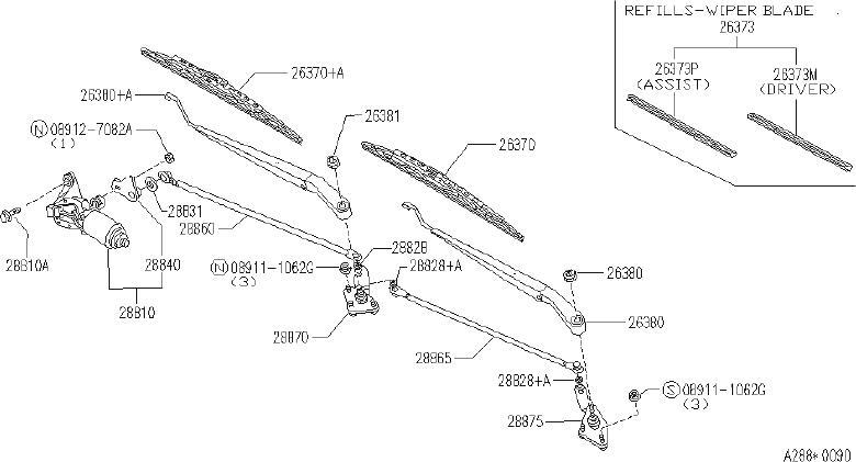 INFINITI J30 Blade Windshield Wiper No 1. FED, CAL, ASSIST