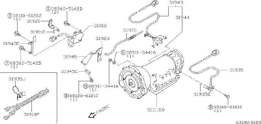 INFINITI QX4 Automatic Transmission Gear Position Sensor