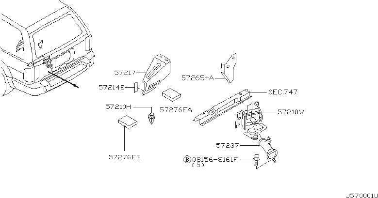 INFINITI QX4 Belt Spare Wheel. Guide Handle Rod, Spare