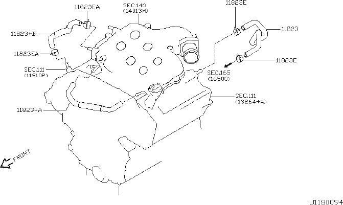 INFINITI FX35 Hose Blowby Gas. CRANKCASE, VENTILATION