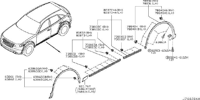 INFINITI FX35 Wheel Arch Molding (Right, Front). BODY