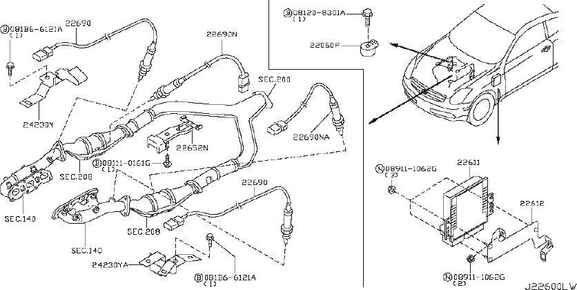 INFINITI G35 Heated Oxygen Sensor Bracket. MODULE, ENGINE