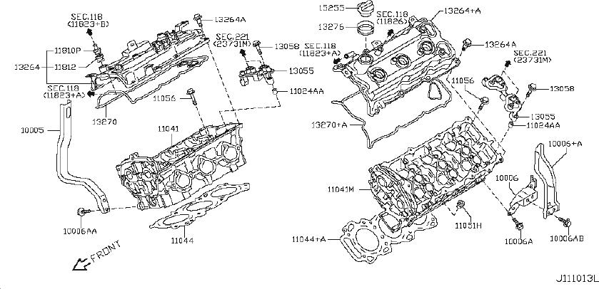 INFINITI G35 Engine Valve Cover Gasket. COMPONENT
