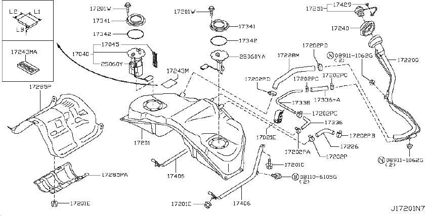 INFINITI G35 Fuel Level Sensor. Sender Unit Fuel Gauge