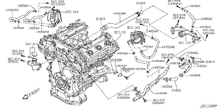 INFINITI M35 Engine Coolant Pipe. AWD, PIPING, VALVE