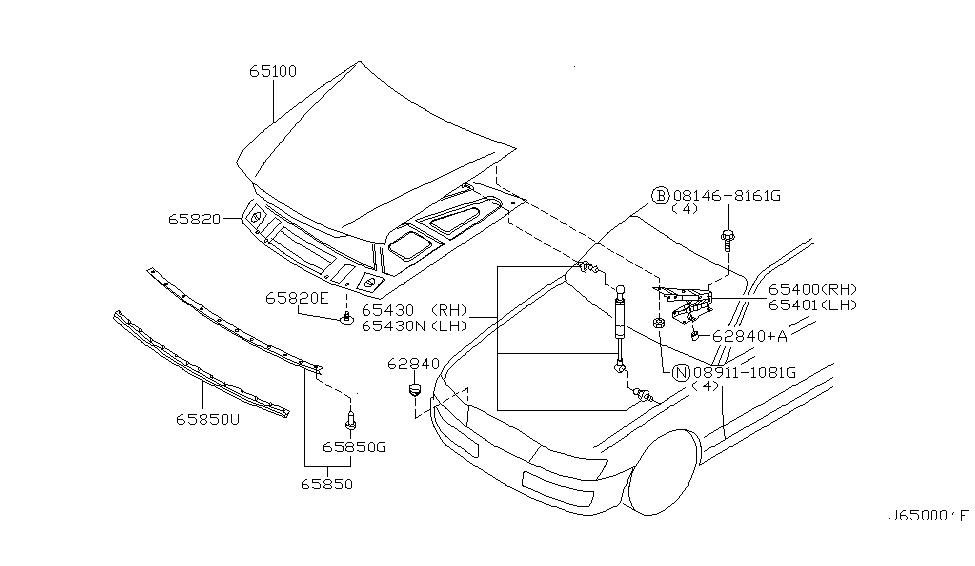 2003 Infiniti M45 Hood Panel,Hinge & Fitting