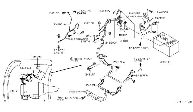 24225-C9900 Genuine Infiniti #24225C9900 Clip-Wiring Harness