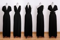 convertible wrap dress, infinity dress, long dress, black ...