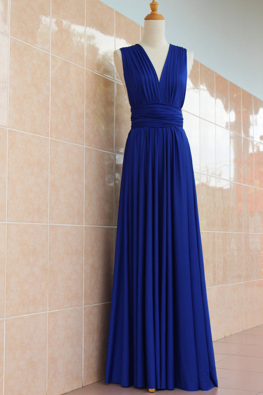 Royal blue infinity dress floor length convertible royal