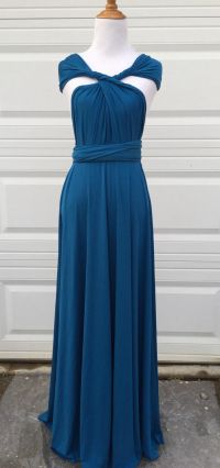 Peacock Teal Infinity Bridesmaid Dress, long bridesmaid