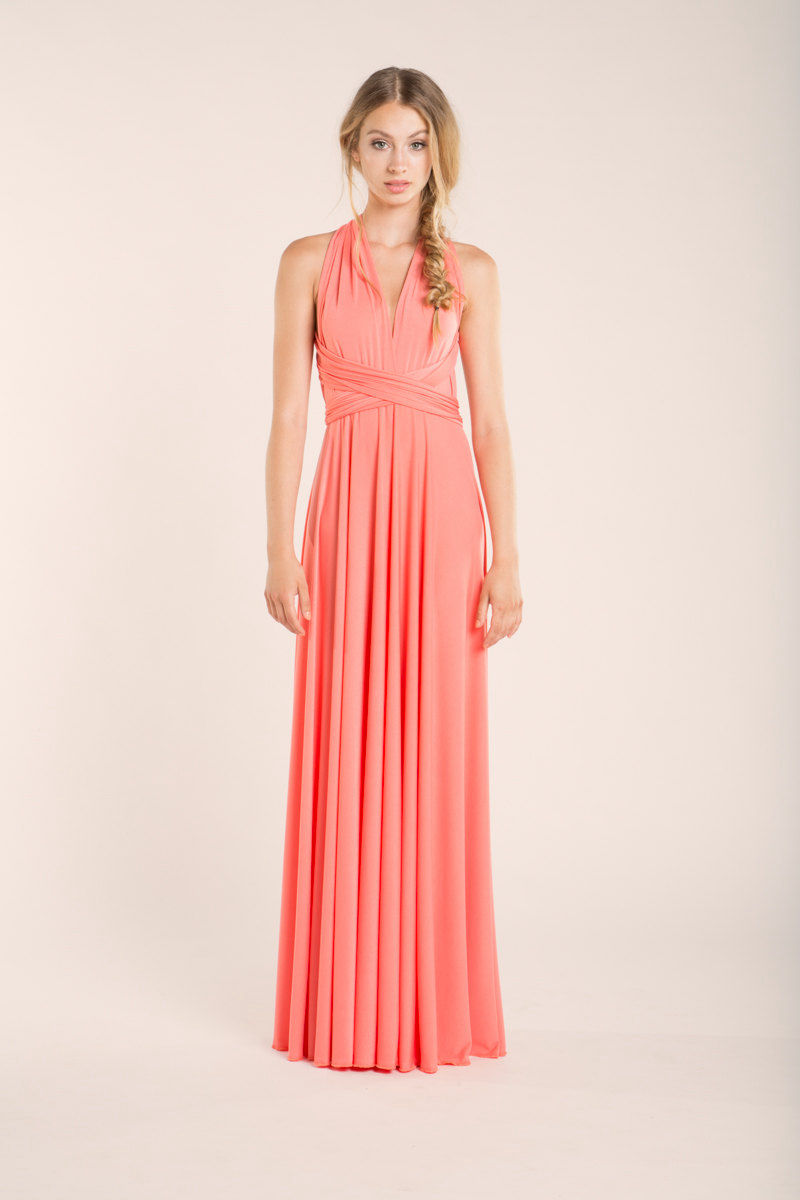 Coral bridesmaid dresses, Convertible Bridesmaid Dress