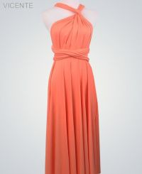 Peach Convertable Dress, Floor Length infinity dress ...