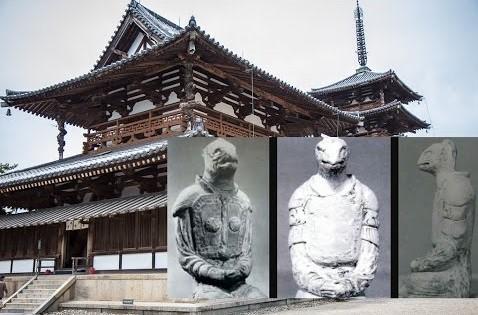 reptilian statue of the Horyuji Nara Temple