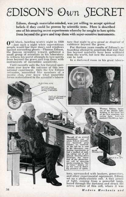 Thomas Edison's Secret Spirit Experiment