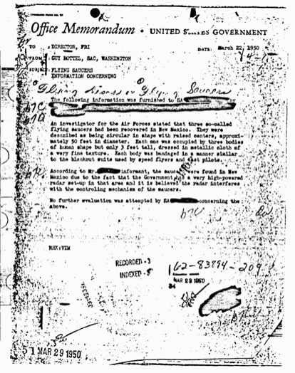 The Guy Hottel Memorandum Of FBI Describes Crashed Flying Saucers In New Mexico With Occupants