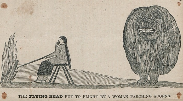 Flying Head Behind The Woman Parching Acorns