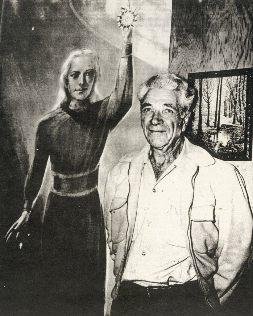 George Adamski stands in front of a painting by Gay Betts depicting the Venusian space pilot (Orthon) he met in the Mojave Desert, California
