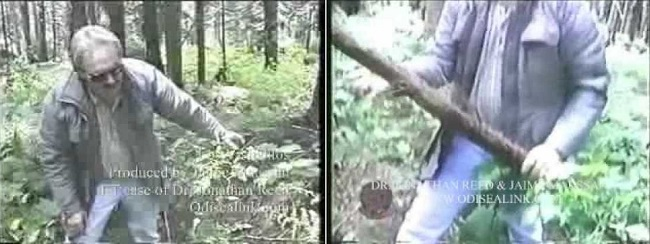 Reed is in the woods at the scene of the incident, showing how he hit the alien with a stick.